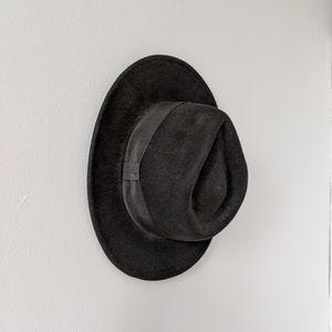 Black Wool Flat Brim Hat
